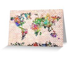 world map floral 1 Greeting Card