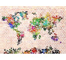 world map floral 1 Photographic Print