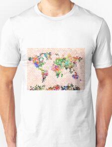 world map floral 1 T-Shirt