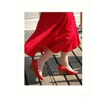 Red shoes and dress Art Print