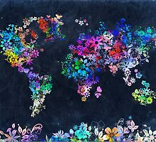 world map floral 2 by BekimART