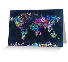 world map floral 2 Greeting Card