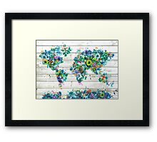 world map floral 3 Framed Print