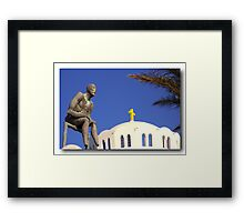 Amazed by Santorini's view Framed Print