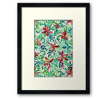 Vintage Tropical Floral - a watercolor pattern Framed Print