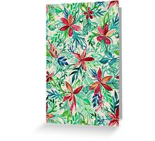 Vintage Tropical Floral - a watercolor pattern Greeting Card
