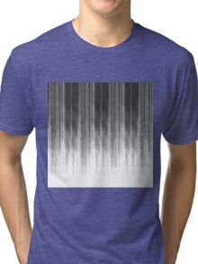 Black and Grey Paint Drips on White Tri-blend T-Shirt