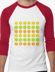 Citrus Lime, Orange, and Lemon Polka Dot Slices Men's Baseball ¾ T-Shirt
