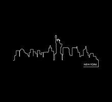 New York cityscape (white line) by peculiardesign