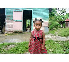 Little Girl in Plaid Dress Photographic Print