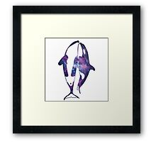 Orcas in space Framed Print