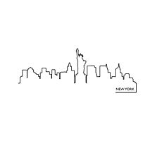 New York cityscape (black line) by peculiardesign