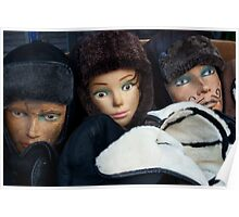 Mannequins and fur hats in a box Poster
