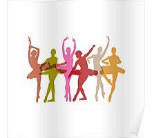 Colorful Dancing Ballerinas Poster