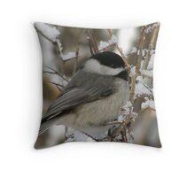 Chilly Chickadee Throw Pillow