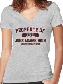 John Adams High Athletic - Dark Women's Fitted V-Neck T-Shirt