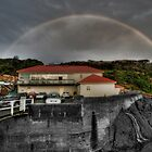 Rainbow over Merimbula Wharf by Bluesoul Photography