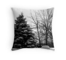 BW Winter Landscape Throw Pillow
