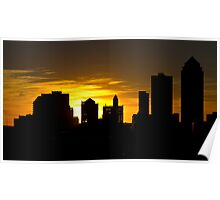 Sunset Silhouette - Des Moines, Iowa  Poster