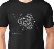 Ringed trefoil in cube - white Unisex T-Shirt