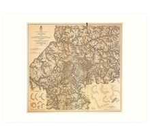 Civil War Map Atlanta Georgia July 19 - August 26 1864 Art Print