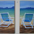 Beach Chairs Diptych by Pamela Burger
