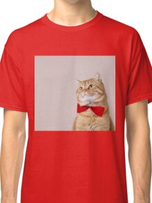 Red Cat sitting and looking up with a red ribbon,bow isolated on grey background. Classic T-Shirt