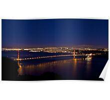 Golden Gate Bridge By Night Poster