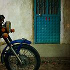 Door 22 With Blue Motorcycle by Josh Wentz