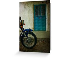 Door 22 With Blue Motorcycle Greeting Card