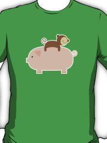 Baby Monkey Riding on a Pig T-Shirt