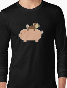 Baby Monkey Riding on a Pig Long Sleeve T-Shirt