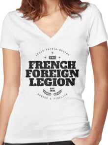 French Foreign Legion - Honour and Fidelity black Women's Fitted V-Neck T-Shirt