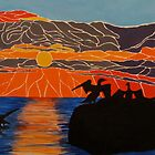 Cormorants basking in the sunrise by Dorothy ROWNTREE