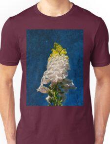 White Foxglove flowers on texture Unisex T-Shirt