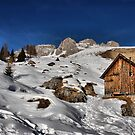 Mountain winter landscape, chalet, peak and snow by Francesco Malpensi