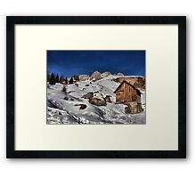 Mountain winter landscape, chalet, peak and snow Framed Print
