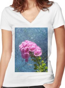 Foxglove with texture reaching for the sky. Women's Fitted V-Neck T-Shirt