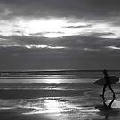 B&W Sunset Surf by SophiaCaselton