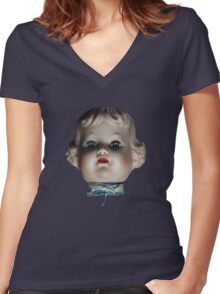 Doll Head T-Shirt Women's Fitted V-Neck T-Shirt