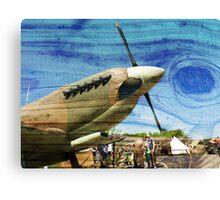 Spitfire Mk 1A aircraft on wood texture Canvas Print
