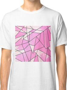 Girly Modern Pink Distressed Geometric Pattern Classic T-Shirt