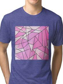 Girly Modern Pink Distressed Geometric Pattern Tri-blend T-Shirt