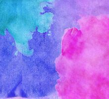 Pink, Purple, Teal, and Blue Watercolor Smudges by Blkstrawberry