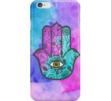 Girly Watercolor Floral Print Hamsa Hand of Fatima iPhone Case/Skin