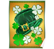 Irish Hat and Shamrocks  Poster