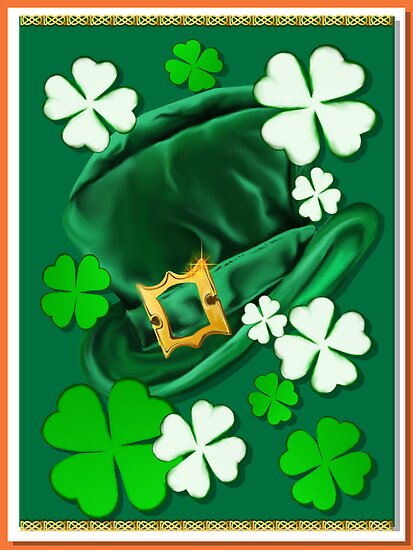 Irish Hat and Shamrocks _ by Lotacats