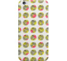 Pink and Yellow Floral on Grey Wtercolor Polka Dot iPhone Case/Skin