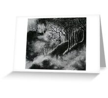 Black and White Forest in Clouds Greeting Card