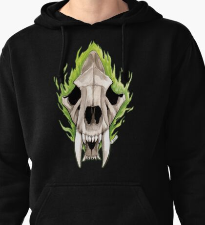 Flaming Skulls - Sabre Toothed Tiger Pullover Hoodie